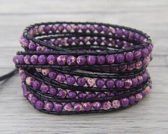 Purple jasper bead wrap bracelet Purple wrap bracelet Boho bead wrap bracelet Leather wrap bracelet leather bead bracelet Jewelry SL-0459