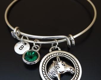 Horse Bangle Bracelet, Adjustable Expandable Bangle Bracelet, Horse Charm Bracelet, Horse Lover, Horse Jewelry, equestrian jewelry,