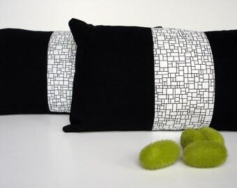 Cover graphic pillow, rectangular black and white, rectangular