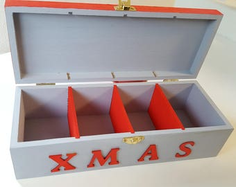 Tea Caddy Xmas - Santa is coming to town, 4 compartments in long