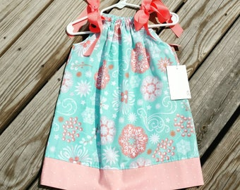 Pillowcase Dress - Girl Spring Dress - Aqua and Coral Dress -  Toddler Girl Dress  - Beach Dress -  Sundress - Groovy Gurlz