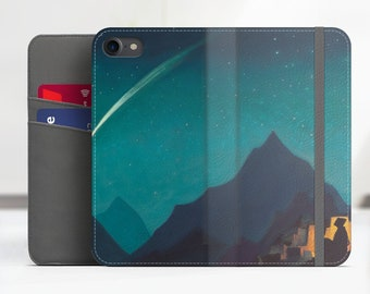 """Roerich """"Star of a Hero"""" Art iPhone 7 Plus flip case Samsung Galaxy S8 flip case iPhone 8 flip Phone cover for iPhone, Samsung. WC-NRO-06"""