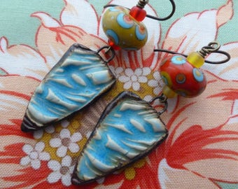 Off To The Seaside, Colorful Quirky Asymmetric Earrings, Ceramic Dangle Earrings, HappyFishThings, Magdalenaruiz, Northernblooms