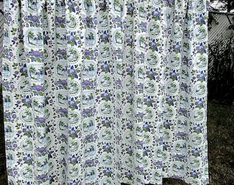 Vintage Drapes Pair of Curtains Purple Green Upholstery Fabric Cottage Floral Landscape Cotton Novelty Material Mid Century Vintage Linens