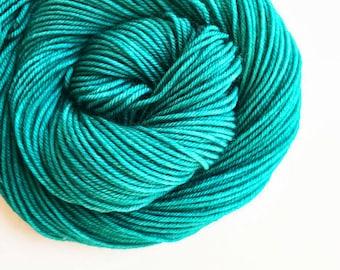MALLARD hand dyed yarn fingering sock dk bulky yarn super wash merino wool yarn single or ply. choose your base. rich blue green yarn