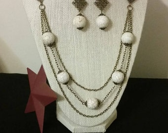 Magnesite matte white Handmade Jewelry Set, Necklace And Earring made with bronze tone metal.