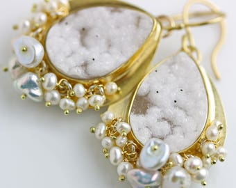 White Druzy 22k Gold Earrings with Freshwater Pearls