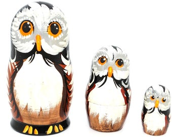 Russian Hand Painted Owls Nesting Dolls Set of 3 Pieces