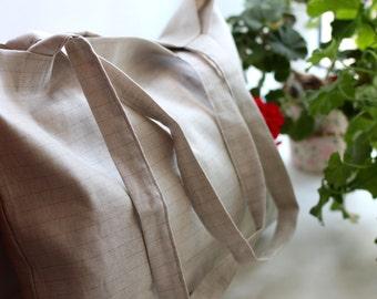 Striped Linen Summer Bag with Inside Pocket - Linen Beach Bag