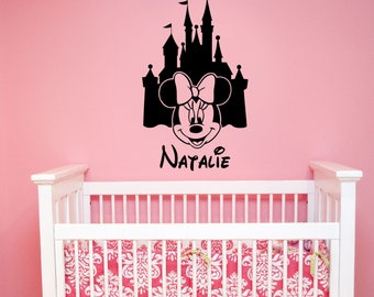 Personalized Disney Castle Wall Decal Minnie Mouse Custom Name Vinyl Sticker Cartoon Art Decorations for Home Girls Room Nursery Decor mmc1