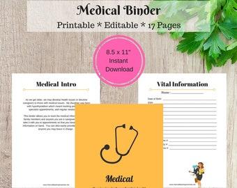 Medical Printable - Medical Binder - INSTANT DOWNLOAD