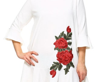 Rose Embroidery Tunic(White)