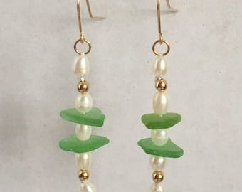 14 K Goldfilled Natural Sea Glass and Freshwater Pearl Dangle Earrings