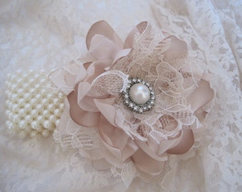 Wrist Corsage Champagne Romantic Rose Pearl Cuff Bracelet Bride Bridesmaid Mother of the Bride Prom with Pearl Rhinestone Accents.