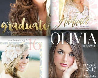 Senior Graduation Announcement Card - Senior Photography Template - 4 Pack Bundle - For Photographers - Photoshop Required - 1418