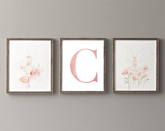Letter C | Nursery Print | Nursery Art | Alphabet | Instant Download | Digital Print | Wall Art | Baby Girl | Initials | Pink | Watercolor