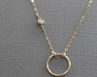 delicate necklace, dainty gold necklace, small circle necklace, tiny cz necklace, thin necklace, small diamond, fake diamond N102