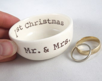 first valentines as mr & mrs gift for couple, his and hers winter wedding ring holder, for every couple, couples gifts, couples valentine