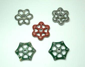 Vintage Faucet Knobs Metal Handles Spigot Valve Handles Set of Five