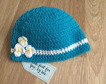 Crochet Baby Girl Love Me Love Me Not... Hat, Gift Idea for Baby Shower, Pregnancy Announcement and Gender Reveal to Grandparents and Family