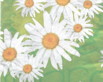 paper - patterns - daisies white green yellow - REF 3666 color 20 napkins