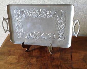 Vintage Hammered Aluminum  Serving Dish, Decorative Tray