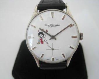 Rare vintage Girard Perregaux  watch Betty boop 17 jewel steel