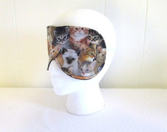 Cat Lovers Sleep Mask made from a Kitten fabric and Thick Black Fleece Back Elastic Band Crazy Cat Lady Gift