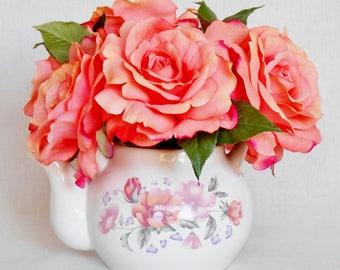 Teapot Silk Flower Arrangement, Coral/Apricot Roses, White Floral Teapot, Teapot Artificial Flower Arrangement, Silk Floral Home Decor,