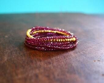Garnet Beaded Wrap Bracelet Genuine Gemstone Yoga Inspired Sparkly Faceted Delicate Crystal Spiritual Jewelry Pink Purple Wrap Bracelet