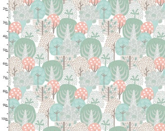 Coral, Aqua, Taupe Woodland Trees Fabric, 3 Wishes Little Forest 12952 Multi, Woodland Quilt Fabric, Forest Fabric, Cotton Yardage