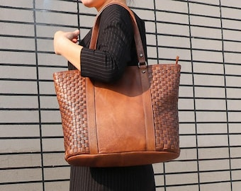 Brown Leather Tote, Leather Tote Bag, Leather Shoulder Bag, Large Leather Tote , Woman Leather Bag, Leather Woven Bag, Leather Crossbody Bag