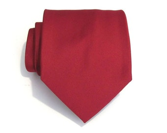 Dark Red Mens Tie With *FREE* Matching Pocket Square Set