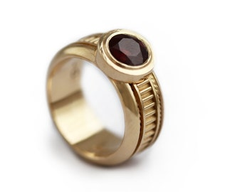 14k gold ring with Red Garnet  Gemstone Custom Jewelry, Promise Ring, Engagement Ring, Love  Unique Ring, January Birthstone