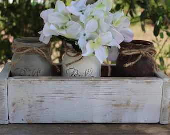 White washed Wood planter box centerpieces Dining table centerpiece Rustic Mason jar planter box Home decor gifts