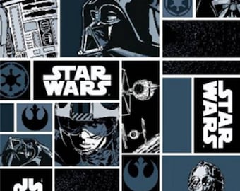 """Star Wars Characters in Blocks Cotton Fabric ~ 44"""" x 15"""" remnant"""