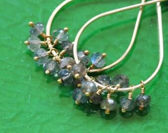 Labradorite Earrings, Tear Drop, 14k Gold Filled, Flashy Grey Blue Gemstone Cluster - Priscilla