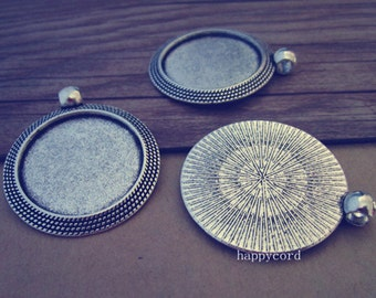 12pcs  antique silver Round Pendant tray Base 25mm