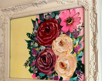 Framed Whimsical Floral Painting