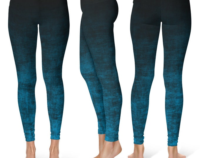 Blue Ombre Leggings Yoga Pants, Grunge Yoga Tights for Women in Black and Blue