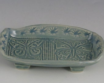 mini tray with butterflies, change/jewelry, mini serving tray