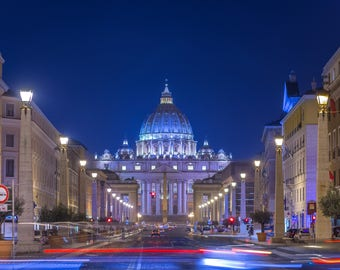 Photograph of the Saint Peter's Basilica in Rome, Italy, in the evening. Photo of Rome, Photo of Italy, Picture of Rome. Photography of Rome