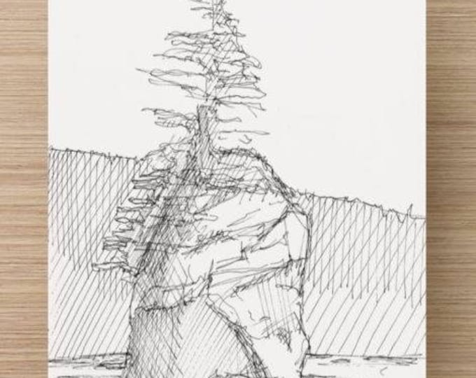 Ink Sketch of Seastack near 3rd Beach in Olympic National Park - Drawing, Art, Pen and Ink, Washington, Coast, Mountain, Tree, 5x7, 8x10