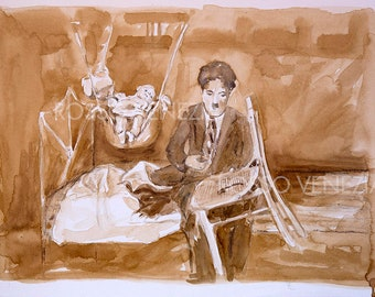 Original Watercolor / Charlie Chaplin/| Collection art / RossoVenezia