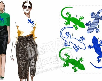 Gecko Lizard Salamander Machine Embroidery Design Set