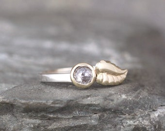 Rose Cut Diamond Engagement Ring with Leaf Design - Salt & Pepper Diamond Ring - Nature Inspired Ring - Gold and Silver Engagement Ring
