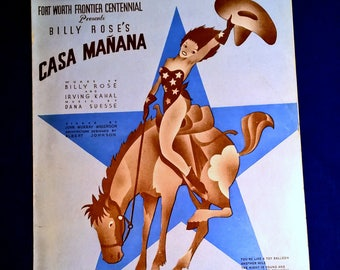 Vintage Cowgirl Sheet Music Cover Art 1930's-Billy Rose's Casa Manana-The Night is Young and You're So Beautiful-Fort Worth Frontier Centenn