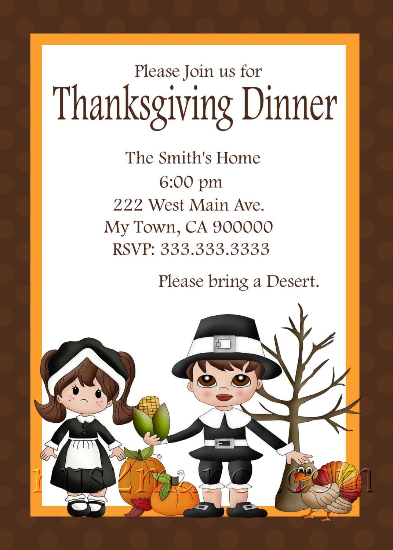 Thanksgiving Dinner Invitation diy Printable Party Invites