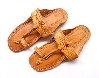 Women Sandals - Natural Brown Art Leather Kolhapuri Chappals/Shoes for Women/Women Flats/Ethnic Indian Flip Flops