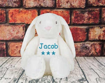 Personalised Embroidered Name Dob Star Bunny Birthday Gift